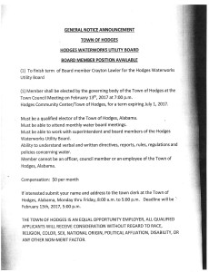 2017 Water Board Member Vacancy